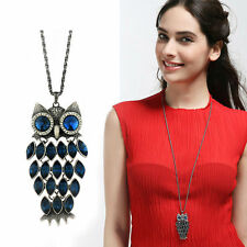 Austria Dark Blue Crystal Stone Antique Silver Long Chain Owl Necklace Pendant