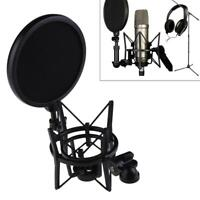 Microphone Shock Mount Stand Holder with Integrated Filter Screen Black Kit