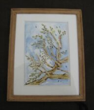 """Vintage Miniature Wood Picture Frame Hand Painted Water Color 3 1/2"""" Wide"""