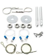 """Car Silver 3/16"""" Plus Flush Hair Pin Style Hood Engine Lock Set W/ Lanyar Muscle"""