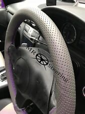 FOR VW GOLF PLUS GREY PERFORATED LEATHER STEERING WHEEL COVER PURPLE DOUBLE STCH