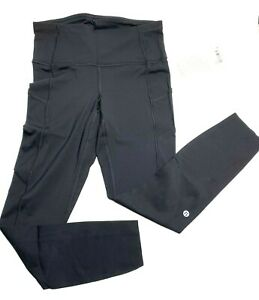 """Lululemon Womens 6 Fast Free High Rise Tight 25"""" Black Cell Phone Pockets NWT"""