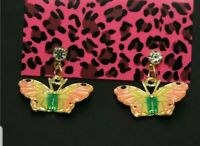 New Betsey Johnson Lovely Pink Enamel Butterfly Crystal Women Stand Earrings