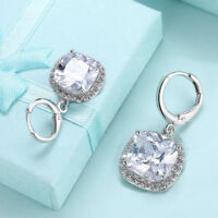 Silver Asscher Cubic Zirconia CZ Halo Leverback Dangle Earrings