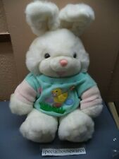 """Main Joy Stuffed Easter Bunny 20"""" White w/ Blue Shirt w/ Embroidered Duckie VGC"""