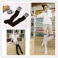 Cute Sexy High Striped Cotton Over Knee Socks Womens Girls Thigh Stockings Black