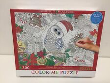 EuroGraphics Holly Jolly Owl Color Me Puzzle (300 Pieces)