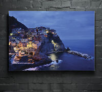ANY SIZE Wall Art Glass Print Canvas Picture Poster Manarola Italy City p60015