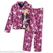Justin BIEBER Animal Print Button Shirt & Pants PAJAMAS Girl's 7/8 NeW Set Pjs