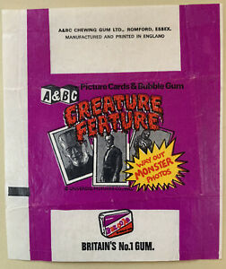 A & BC Gum. Creature Feature You'll Die Laughing 1974 Empty Gum Card Wax Wrapper