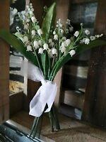 16 Rispen = Kunstblume Künstlicher 2 x Strauß Schneeglöckchen Maiglöckchen Creme