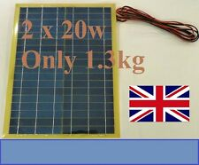 40w (2x 20w) Very Light Solar Panel c/w 8m cable Block Diode for 12v 24v Battery