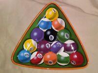 "Clay Art Rack Em Up Hand Painted Stonelite Bowl - Serving Dish ""15 Balls"""