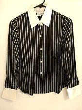 Women's Sz 4P Petite Bloomingdale's Black Cream Striped Soft Silk Blouse/Shirt