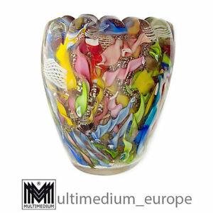 Aureliano Toso Dino Martens Murano Glas Vase Silberfolie rot 🌺🌺🌺🌺🌺