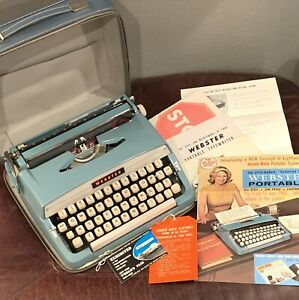 Vintage Webster Typewriter Brother Industries Japan Blue w/ Case