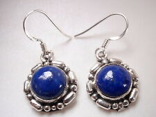 Blue Lapis Round with Unique Accents 925 Sterling Silver Dangle Earrings