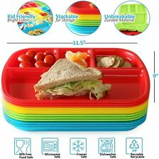 4-Compartment Divided Plastic Kids Tray - Set Of 12 Plastic lunch Trays with div