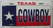 Texas Flag Cowboy License Plate Aluminum Lone Star Embossed Sign Car Tag Auto