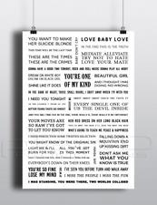 INXS Song Lyrics Poster A3 - White