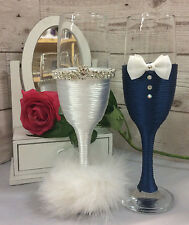 Mr & Mrs BRIDE and GROOM Wedding glass set Champagne toasting flutes navy white