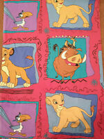 VTG Lion King Twin Flat Sheet 90's Vintage Simba Pumba Disney