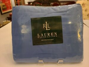 RALPH LAUREN HOME King Flat Sheet 100% Cotton NIP CABANA Blue 250 THREAD CT 💙