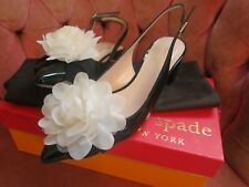 Kate Spade METTIE black crinkle patent leather slingback shoes size 6.5M NEW