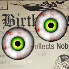 "1"" Inch Green Monster Creature Eyeballs Glass Taxidermy Halloween Fantasy 25mm"