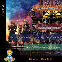 Kingdom Hearts III (PS4 Mod)- Max Money/Level/Skill points/ Items/Materials