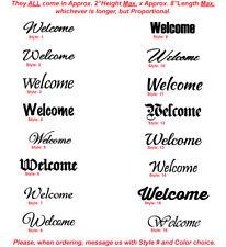 Welcome - Front Door Sign - Vinyl Die-Cut Peel N' Stick Decals / Stickers