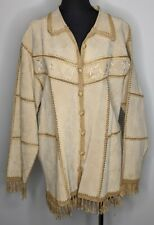 Women's Plus Leather Suede Jacket Blazer Hand Crochet Patchwork Coat Fringe