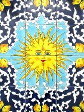 "18"" x 24"" Ceramic tile art mosaic wall mural Panel SUN Lemon Backsplash"
