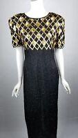 Vtg Laurence Kazar Dress Womens Size Medium Silk Sequin Full Length Black & Gold
