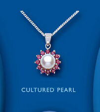 Pearl Round Ruby Fine Necklaces & Pendants