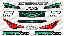 CUSTOM RC BODY HEADLIGHT GRILL STICKER DECAL SET PROTOFORM P47-N 1/10 TEAL