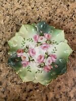 Antique MZ Austria Ornate Scalloped Hand Painted Plate Roses Gold Accents 9""