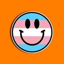 Transgender Pride Sticker, Includes Two (2) Stickers, Trans, Smiley Face, LGBT