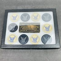 Vintage 10 Eagle Paranoid Inlaid Clay Poker Chips with Display Case