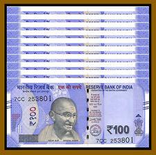 India 100 Rupees x 10 Pcs, 2018 P-112 New Mahatma Gandhi Unc