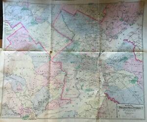 1882 PHILADELPHIA PENNSYLVANIA AND ENVIRONS FROM NEW & ORIGINAL SURVEY ATLAS MAP