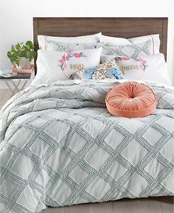 Martha Stewart 2 Piece TWIN/TWIN XL Comforter Set Chenille Trellis GREY A0Y204
