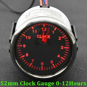 52mm 0-12Hours Digital Pointer Clock Gauge Hour Meters for Marine Car Boat Yacht