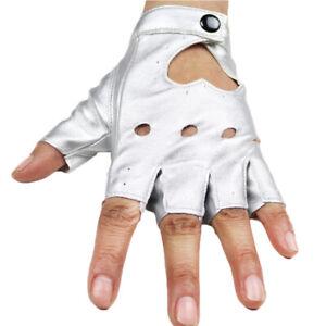 Women Short Leather Punk Half Finger Motorcycle Gloves Fingerless Dance Gloves