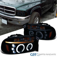 For Dodge 98-03 Durango 97-03 Dakota Glossy Black LED Halo Projector Headlights