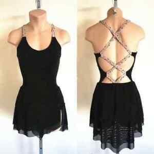 New Black Ice Figure Skating Dress 022513