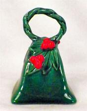 Lefton Green Holly Bell Vintage Red Berries Christmas Holiday NO CLAPPER