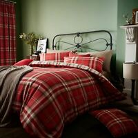 Kelso Check Red Reversible Duvet Cover by Catherine Lansfield