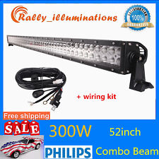 "52""inch 300W Philips LED Work Light Bar Flood Spot Offroad + Free Wiring Harness"