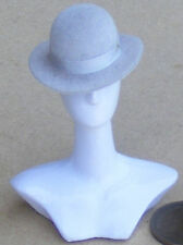 1:12 Scale Light Grey Bowler Hat Dolls House Miniature Clothing Accessory G Band